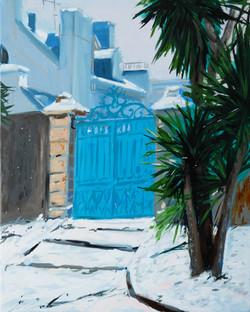 le portail bleu huile sur toile 41 x 33 cm 2021