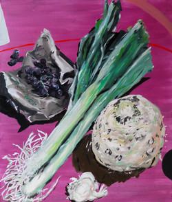 poireaux et celeris rave Hommage à Eugene boudin  huile sur toile 65 x 54 cm 2021