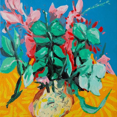 Nature morte au vase. Huile sur toile, 30 x 30 cm, 2020.