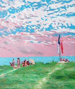 scène de vie à Larmor huile sur toile 55 x 46 cm 2021