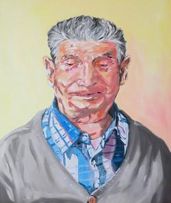 """""""Portrait de Marcel"""". Huile sur panneau toilé, 21 x 18 cm, 2020"""