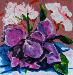 Composition florale décembre. huile sur toile 20x20 cm 2020