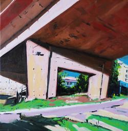 Vue sous le pont d'oradour huile sur toile 30 x 30 cm 2020