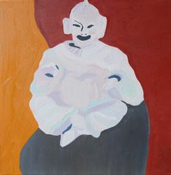 Magot assis en porcelaine blanche
