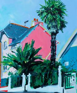 « Vue rue Mme de Sévigné » Huile sur toile, 55 x 46 cm, 2021.