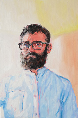 Autoportrait dans l'atelier huile sur panneau toilé 33 x 22 cm 2021