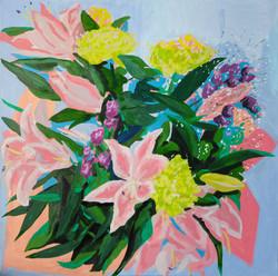 Bouquet, lys et chrysanthèmes. Huile sur toile 90 x 90 cm, 2021