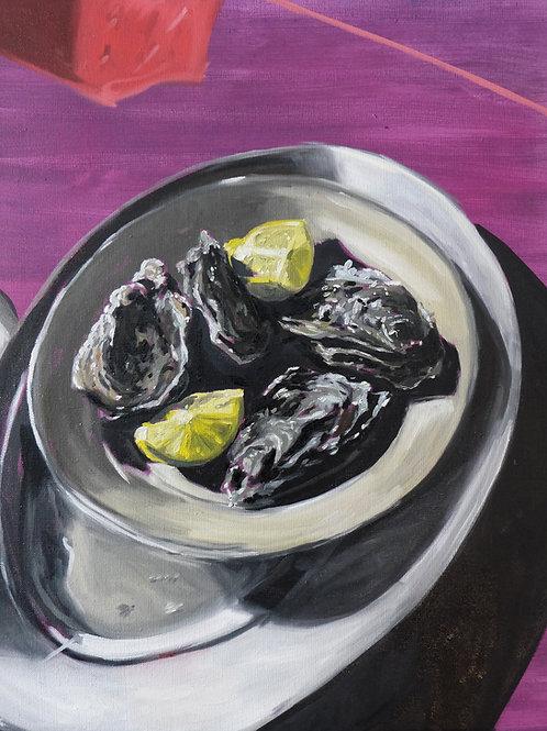 Huîtres et citrons  huile sur toile 55 x 46 cm 2021