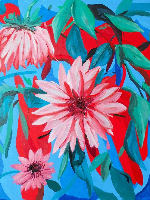 """""""Composition florale/2 sept 2020"""". Huile sur toile, 65 x 54 cm, 2020."""