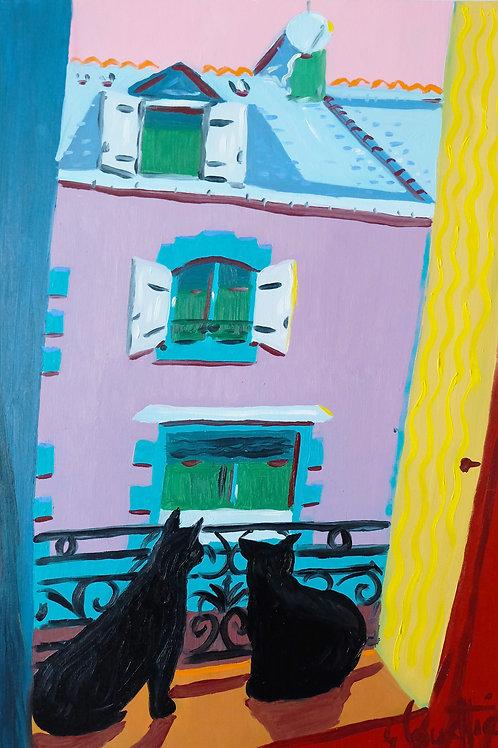 """""""Deux chat sur le balcon"""". Huile sur toile, 55 x 38 cm, 2020"""
