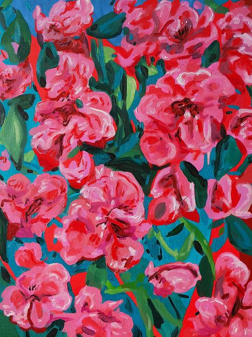 Composition florale/3 sept 2020.  Huile sur toile, 65 x 54 cm, 2020.