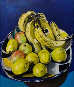 Coupe avec fruits. Huile sur toile, 65 x 54 cm, 2020.