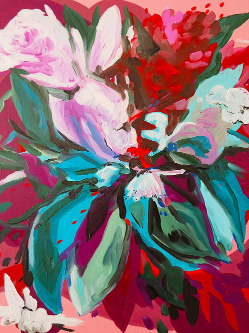 """""""Composition florale/4 sept 2020"""".  Huile sur toile, 65 x 54 cm, 2020."""