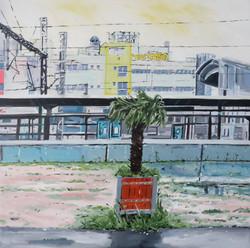 Vue de Gare. L'hiver. Huile sur toile 90 x 90 cm, 2021