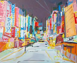 Vue à Osaka huile sur toile 100 x 81 cm 2020 collection privée
