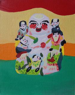 Bouddha rieur au cinq immortels