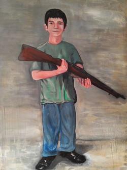 L'enfant au fusil Huile sur toile 131 x 93 cm 2014