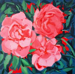 """""""Composition florale 5sept 2020"""". Huile sur toile, 90 x 90 cm, 2020"""