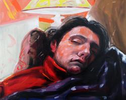 l'endormie huile sur toile 41 x 33 cm 2021