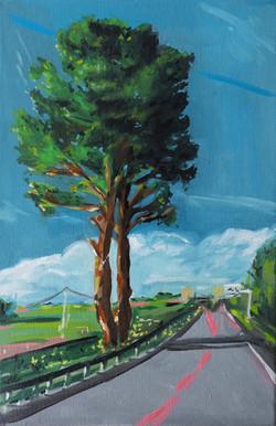 Vue sur l'autoroute huile sur toile 41 x 27 cm 2020