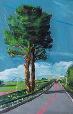 Vue sur l'autoroute huile sur toile 41 x