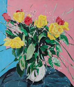 bouquet de petites roses huile sur toile 55 x 46 cm 2021
