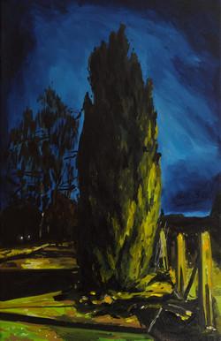 La marche silencieuse huile sur toile 41 x 27 cm 2020