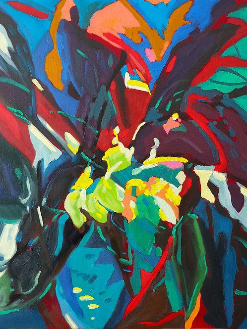 « Interlude floral_1 » Huile sur toile, 55 x 46 cm, 2020