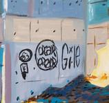 Vue de la gare huile sur toile 55 x 46 c