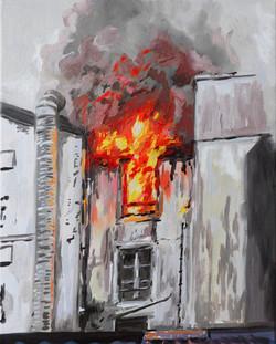 """""""Vue de l'incendie du terminus"""". Huile sur toile, 33 x 40 cm, 2020"""
