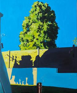 le linge suspendu huile sur toile 50 x 61 cm 2021