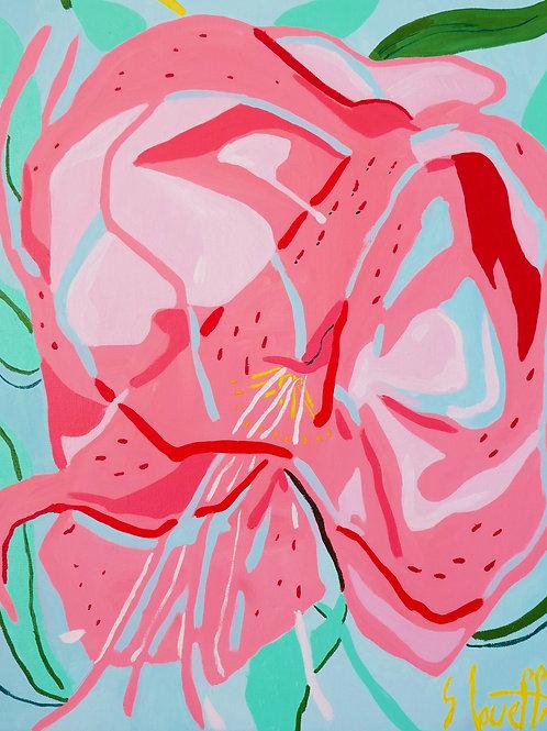 """""""Composition florale 1/Aout 2020"""". Huile sur toile, 55x46 cm, 2020."""