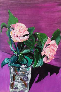 fleurs de Camélia. Huile sur toile, 27 x 41 cm, 2020.