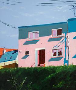 Vue rue R.Schuman. Huile sur toile, 55 x 46 cm, 2021