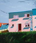 Vue Rue R.Schuman huile sur toile 55 x 4