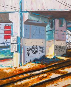"""""""Vue de la gare"""". Huile sur toile, 55 x 46 cm, 2020."""