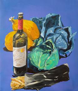 Choux et vin. Huile sur toile, 65 x 54 cm, 2020.