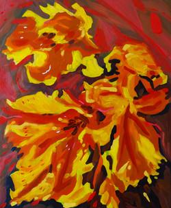 « Interlude floral/5 » Huile sur toile, 55 x 46 cm, 2020