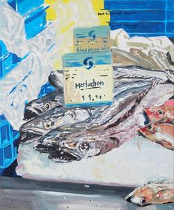 Merluchons. Huile sur toile 38 x 46 cm, 2021