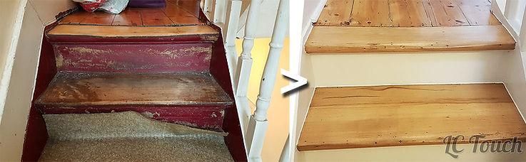 Escalier en bois: ponçage etvitrification