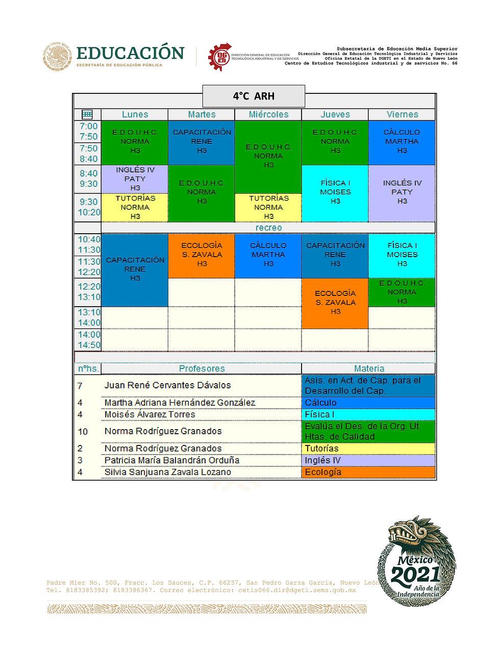 2-HORARIOS CUARTO SEMESTRE TM EFB-JUL202