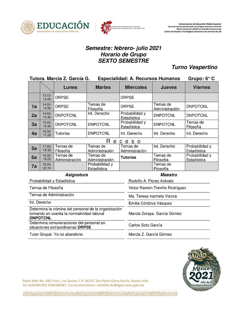 4-TV 21-21 HORARIOS CUARTO Y SEXTO SEMES