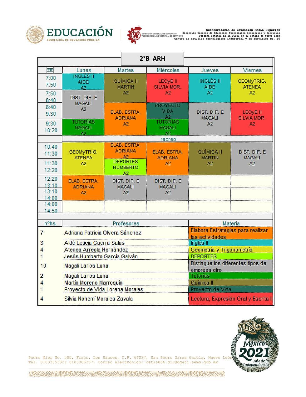 1-HORARIOS SEGUNDO SEMESTRE TM feb-jul 2