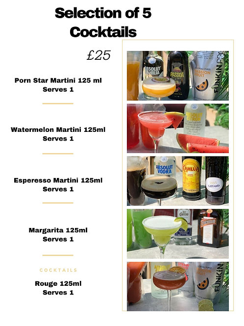 Selection of 5 Cocktails