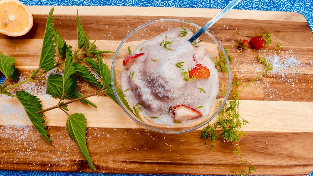 Strawberry - Stinging nettle ice cream