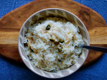 Crèmege Garam Masala-Räis mat Pistasch (vegan)