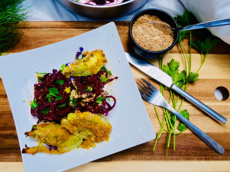 Breaded fennel on spaghetti made from beetroot - vegan