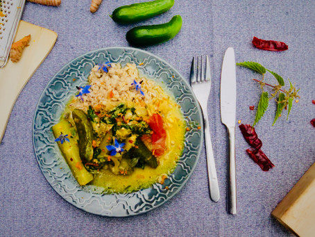 Stewed Cucumbers in a Stinging-Nettle-Mustard Sauce on Pearl Barley