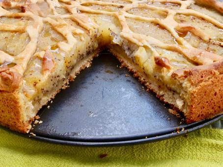 Gedeckte Äppelkompott-Taart mat Mohn (vegan)