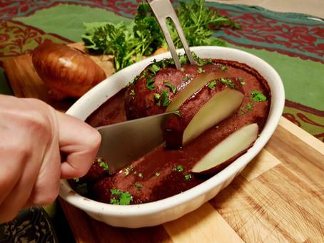 Feierdagskohlrabi an der Routwäinzooss (vegan)